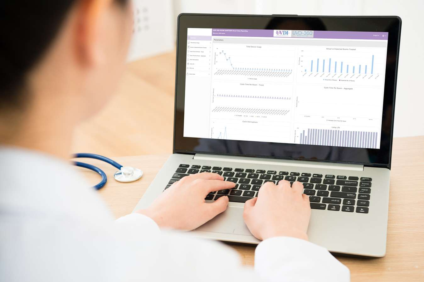 Dr viewing Smart Data on Laptop